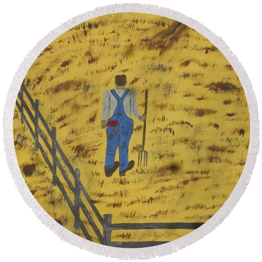 Outstanding Round Beach Towel featuring the painting Outstanding In His Field by Jeffrey Koss