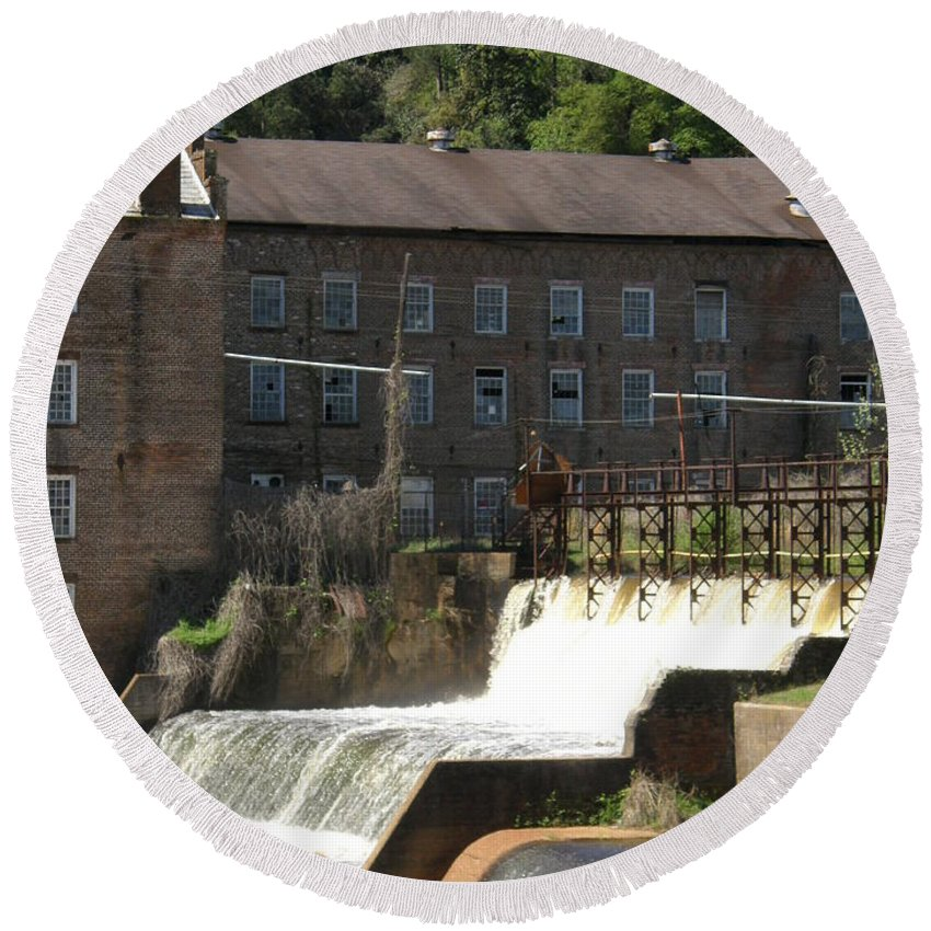 Old Round Beach Towel featuring the photograph Over The Dam by Caryl J Bohn