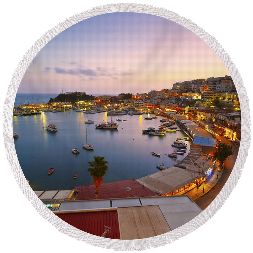 Athens Round Beach Towel featuring the photograph Over The Marina by Milan Gonda