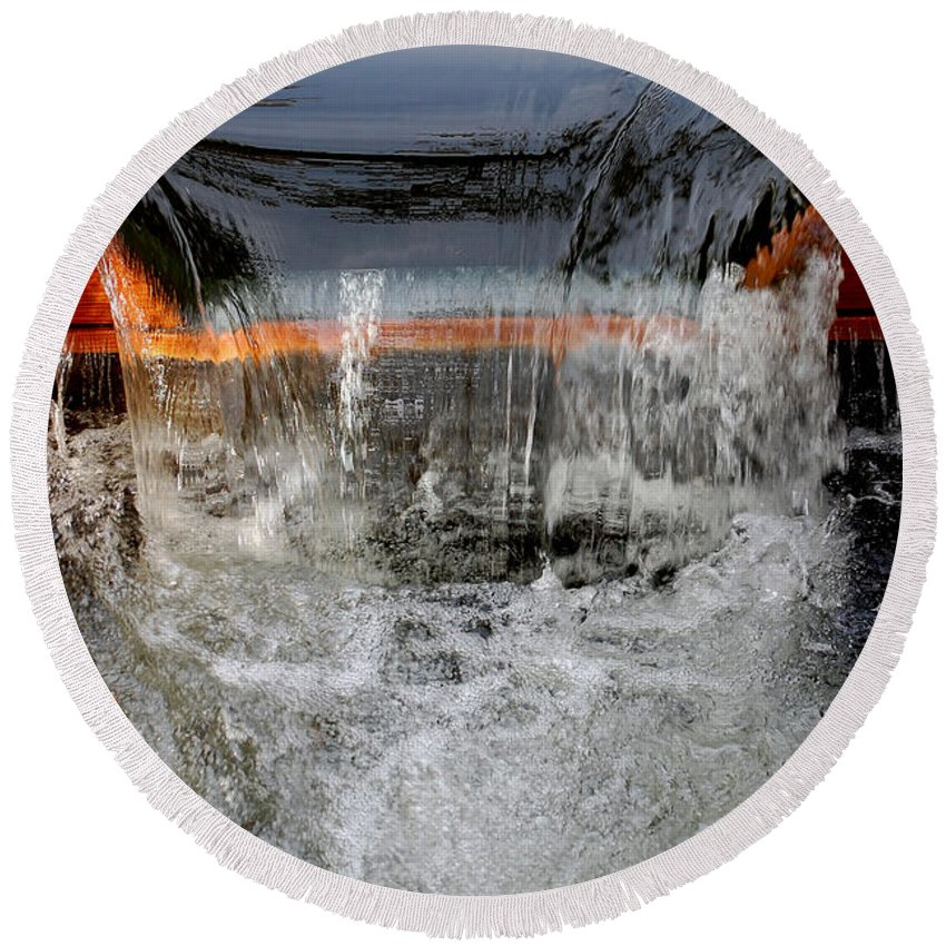 Water One Mile Damn Park Spill Over Chico Ca Small Waterfall Round Beach Towel featuring the photograph Overflow At The One Mile by Holly Blunkall
