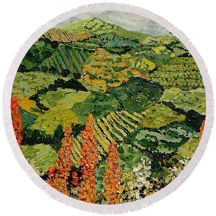 Landscape Round Beach Towel featuring the painting Overgrown by Allan P Friedlander