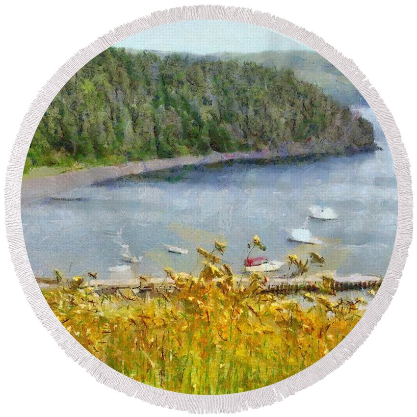 Canadian Round Beach Towel featuring the painting Overlooking the Harbor by Jeffrey Kolker