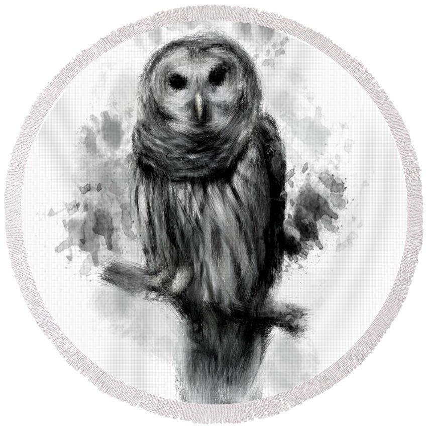 Owl Round Beach Towel featuring the digital art Owl's Portrait by Lourry Legarde