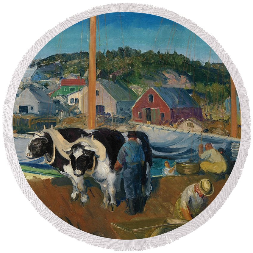 George Bellows Round Beach Towel featuring the painting Ox Team. Wharf At Matinicus by George Bellows