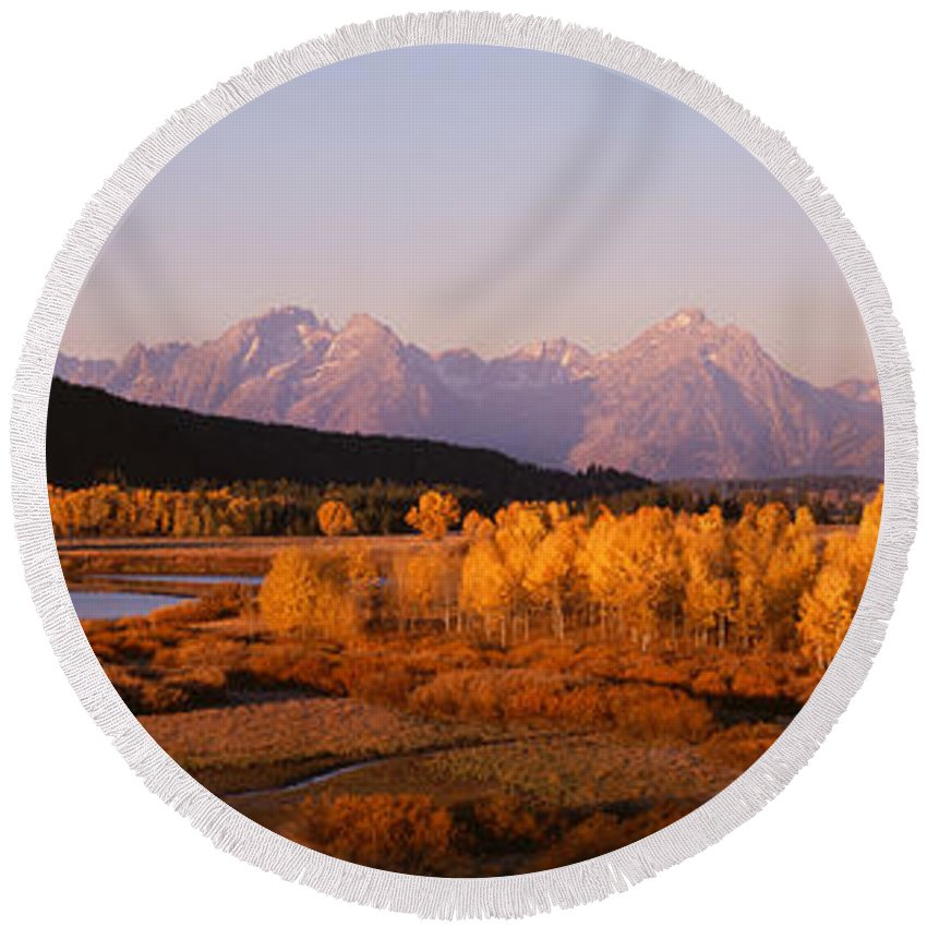 Photography Round Beach Towel featuring the photograph Oxbow Bend Grand Teton National Park Wy by Panoramic Images