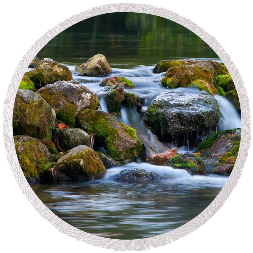 Waterfall Round Beach Towel featuring the photograph Ozark Waterfall by Steve Stuller