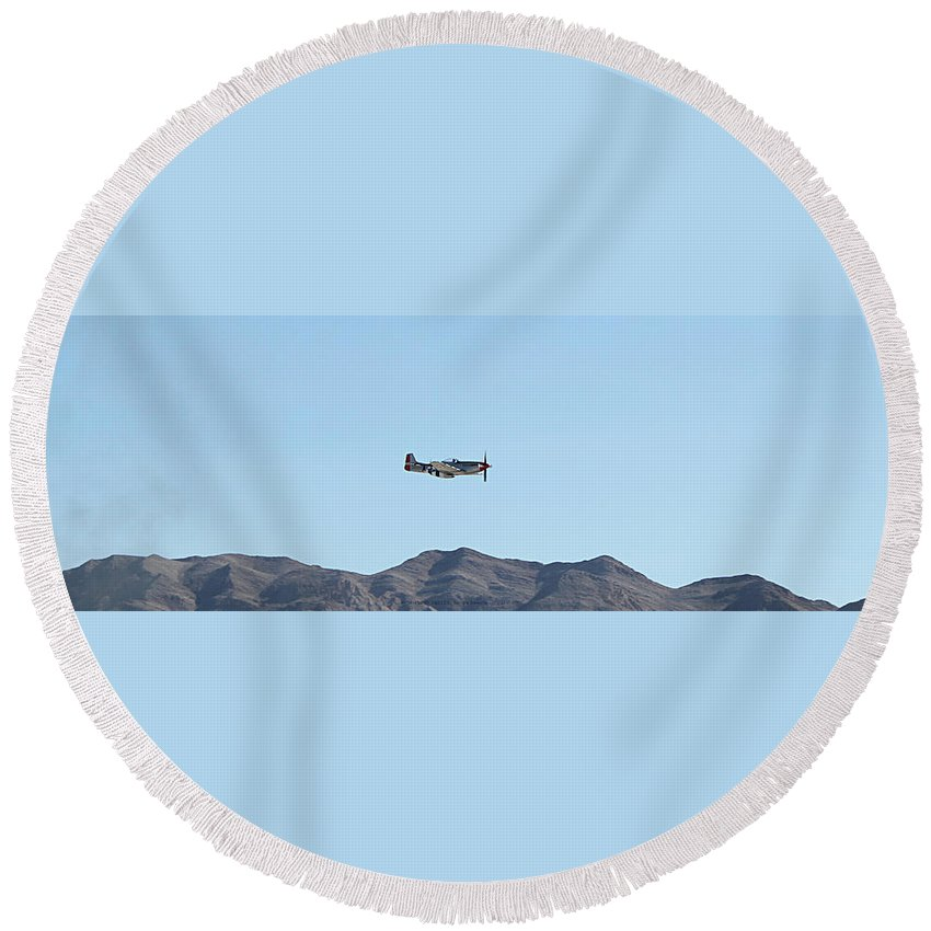 P51 Round Beach Towel featuring the photograph P-51 Mustang Flyby Nellis Afb by Carl Deaville