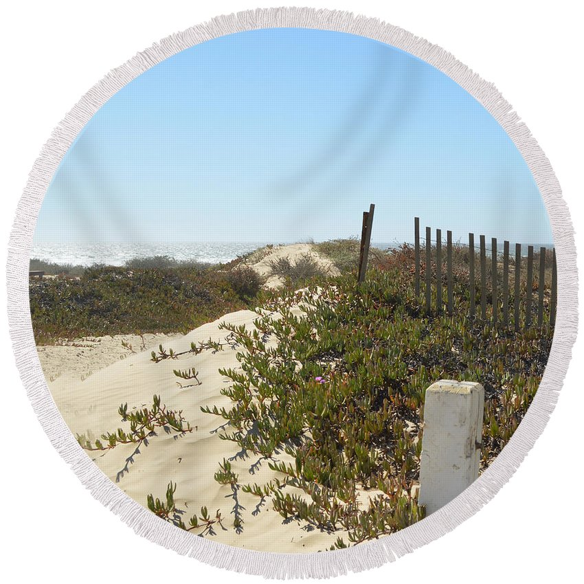 Pacific Pathway Round Beach Towel featuring the digital art Pacific Pathway by Barbara Snyder