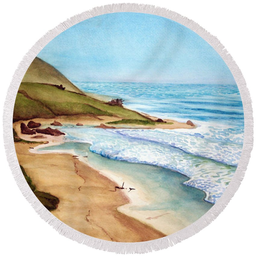 Rick Huotari Round Beach Towel featuring the painting Pacific by Rick Huotari