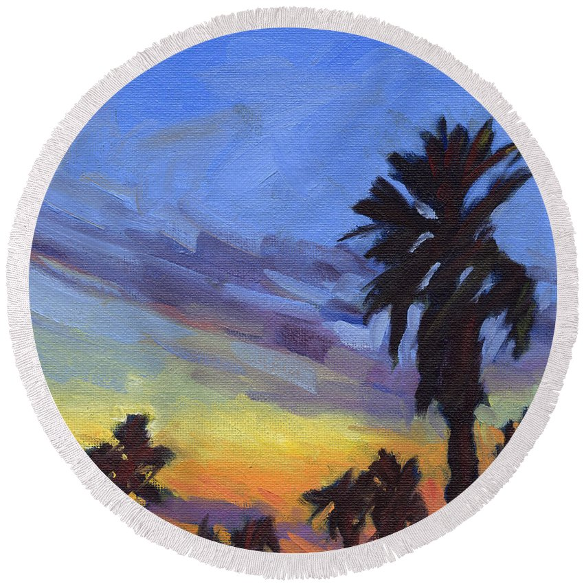 Sunset Round Beach Towel featuring the painting Pacific Sunset 2 by Konnie Kim