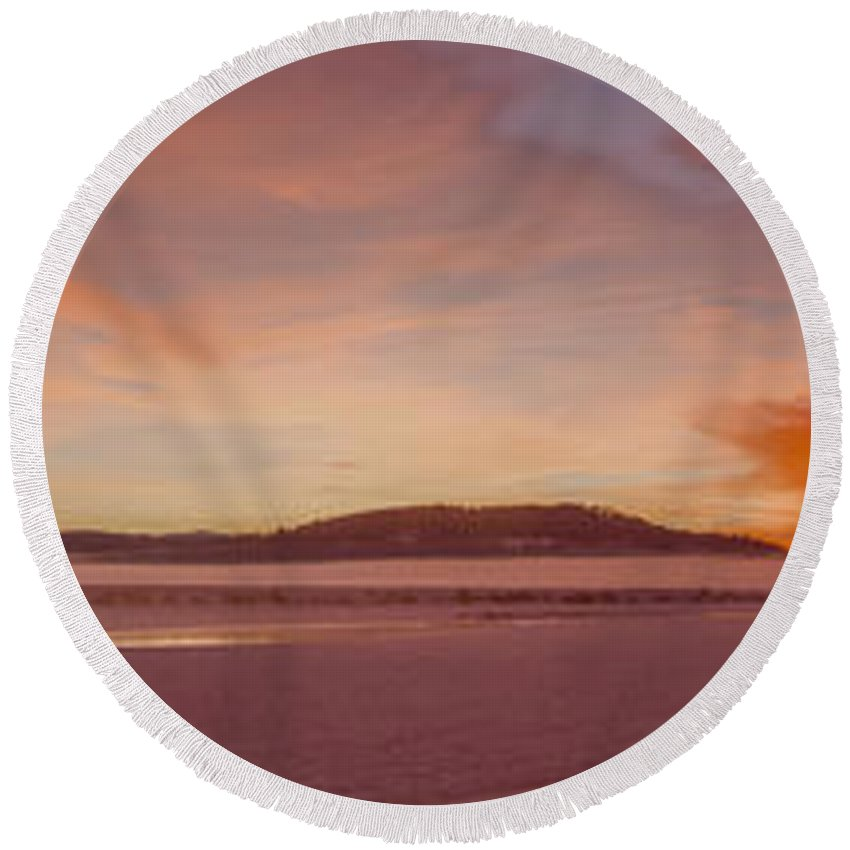North Round Beach Towel featuring the photograph Pack River Delta Sunset - 150125a-336 by Albert Seger