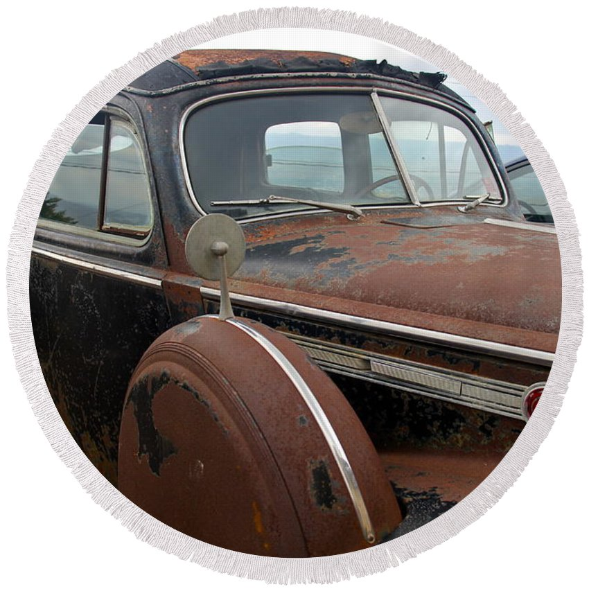 Packard Round Beach Towel featuring the photograph Packard One-eighty by Denise Mazzocco