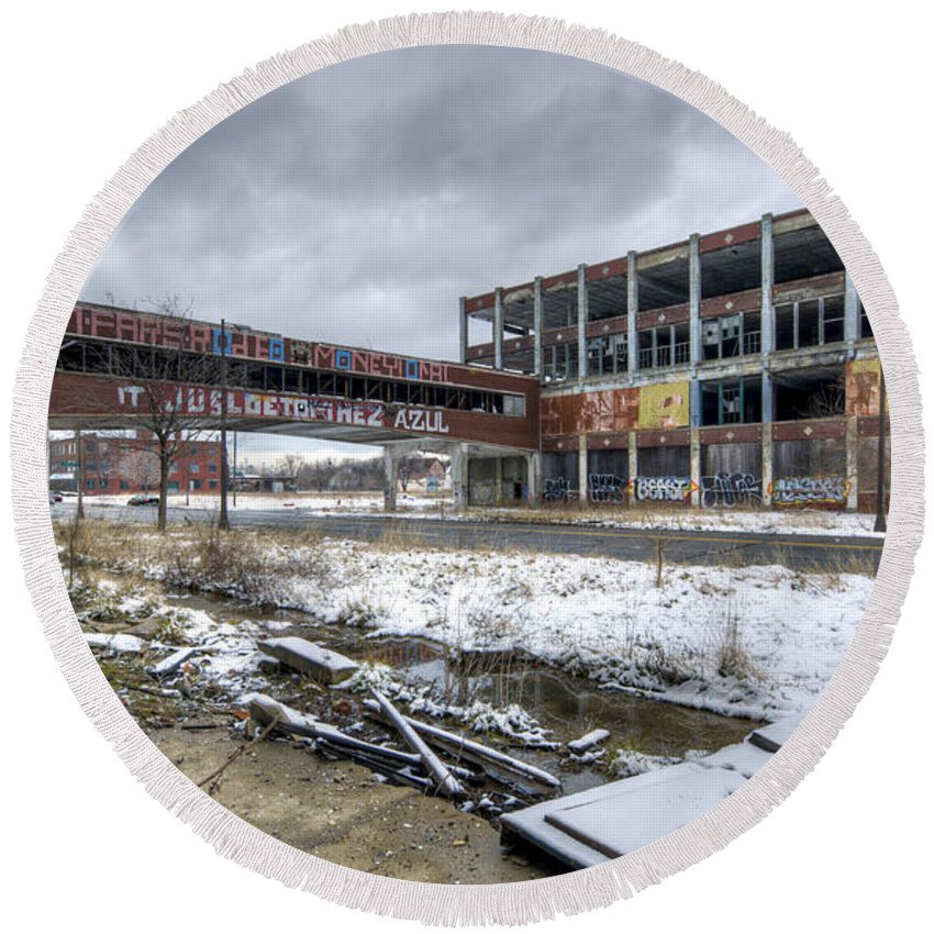 Packard Plant Detroit Michigan Round Beach Towel featuring the photograph Packard Plant Detroit Michigan - 7 by Paul Cannon