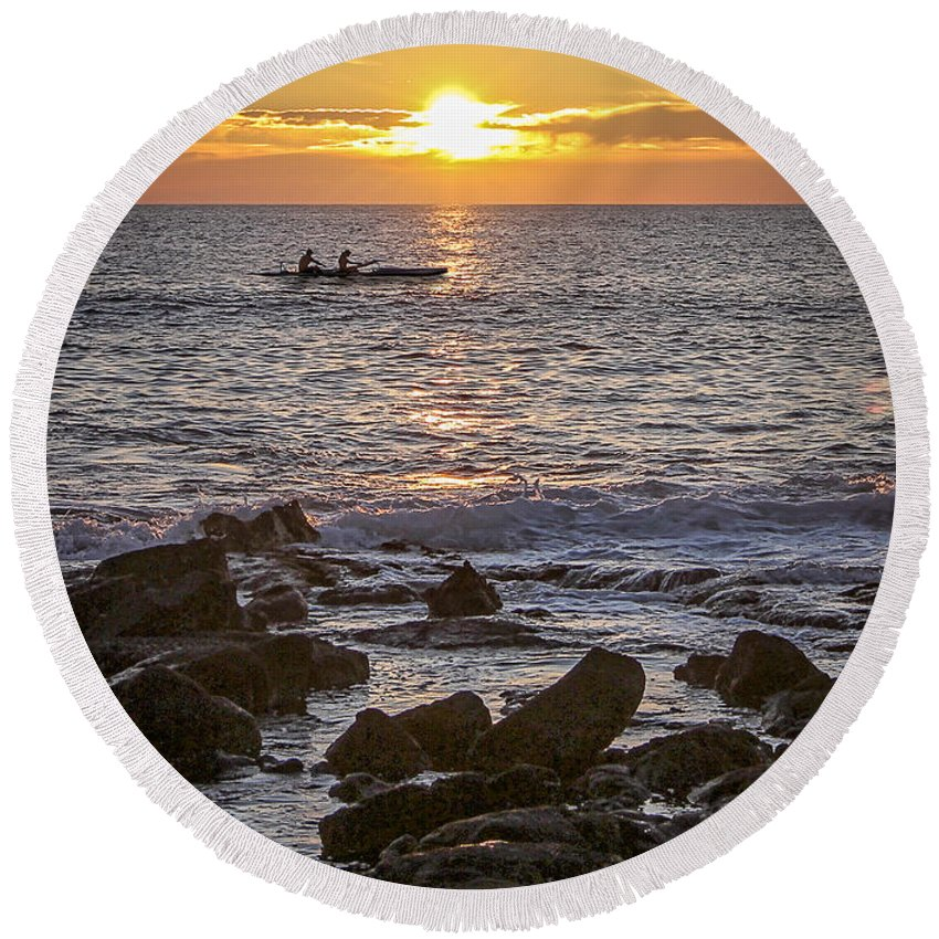 Canoe Round Beach Towel featuring the photograph Paddlers At Sunset Portrait by Denise Bird