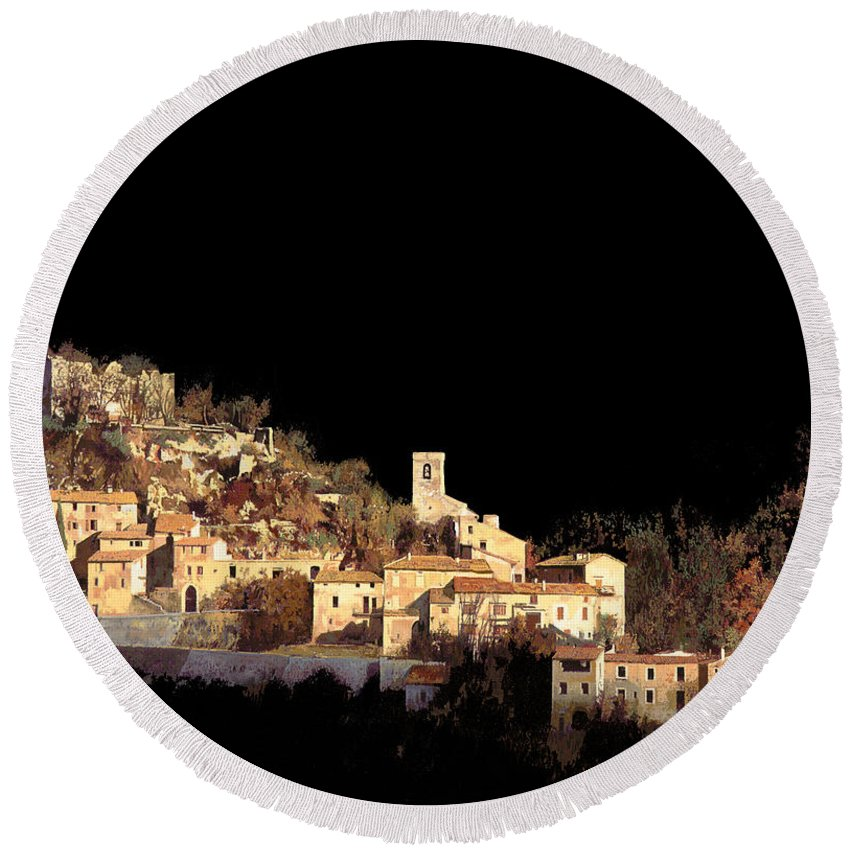 Landscape Round Beach Towel featuring the painting Paesaggio Scuro by Guido Borelli