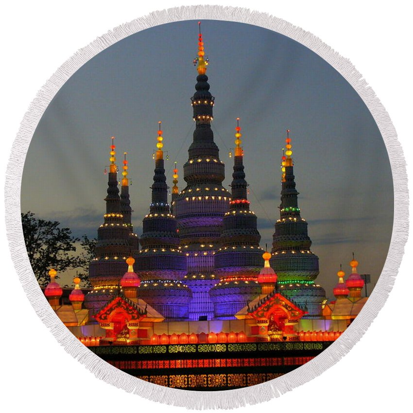 Chinese Round Beach Towel featuring the photograph Pagoda Lantern Made With Porcelain Dinnerware At Sunset by Lingfai Leung