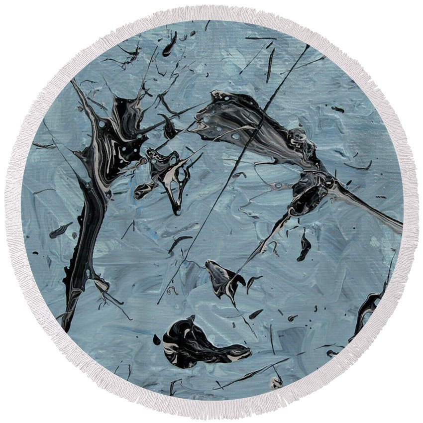 Acrylic Round Beach Towel featuring the painting Paint Fossils by Ric Bascobert