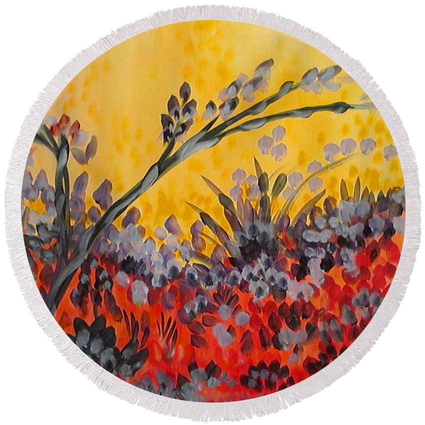 Paintbrush Astray Round Beach Towel featuring the painting Paintbrush Astray by Holly Carmichael