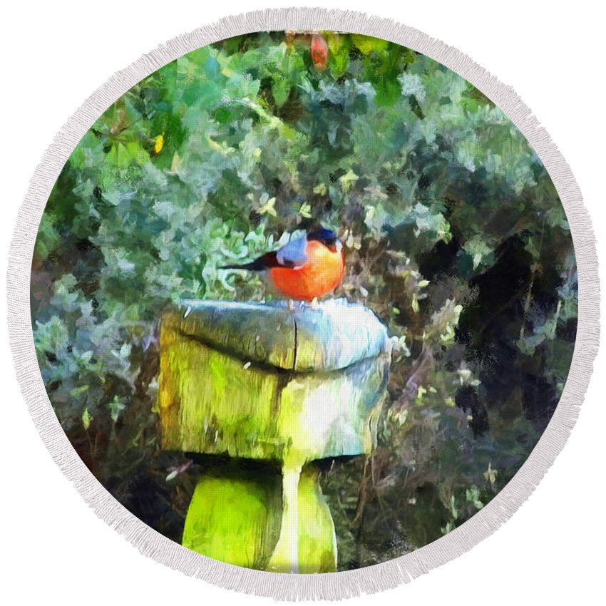 Art Round Beach Towel featuring the painting Painted Bullfinch S1 by Vix Edwards