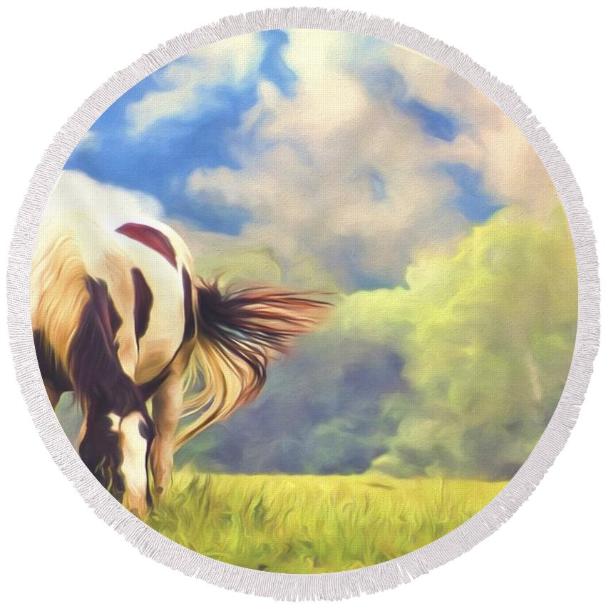 Horse Round Beach Towel featuring the photograph Painted Colours by Alice Gipson
