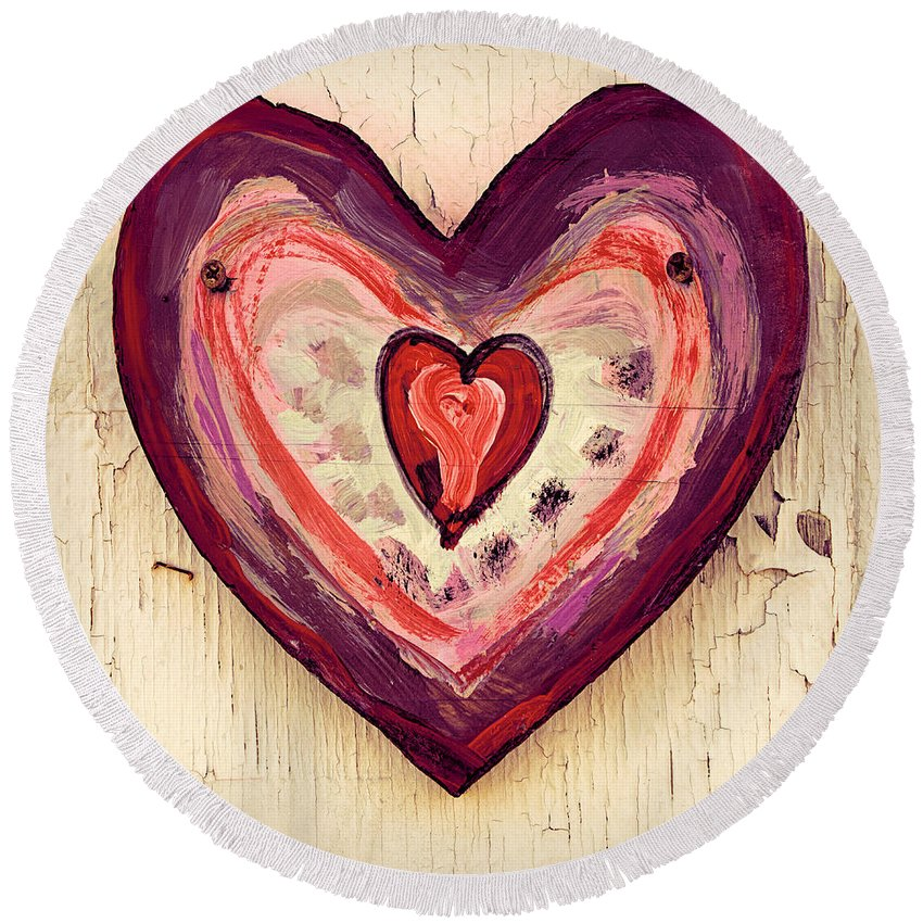 Painted Heart Round Beach Towel featuring the photograph Painted Heart by Jill Battaglia