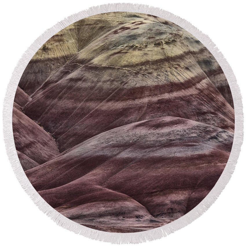 Hills Round Beach Towel featuring the photograph Painted Hills by Erika Fawcett