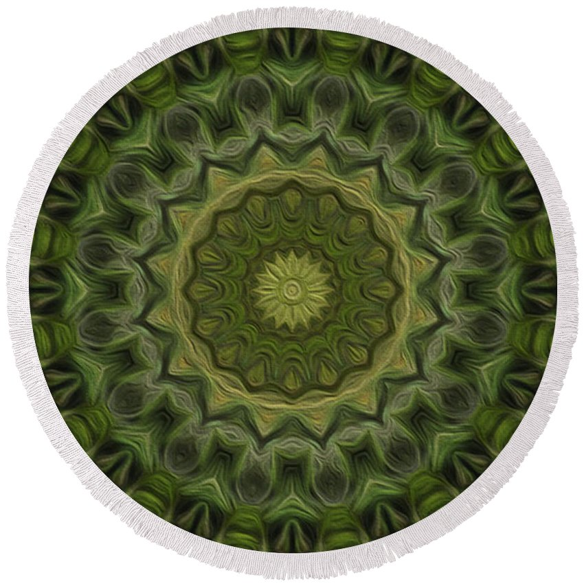 Kaleidoscope Round Beach Towel featuring the digital art Painted Kaleidoscope 11 by Rhonda Barrett