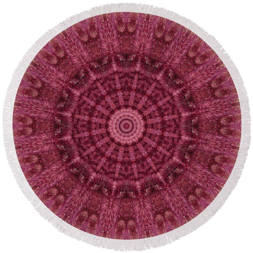 Kaleidoscope Round Beach Towel featuring the digital art Painted Kaleidoscope 12 by Rhonda Barrett