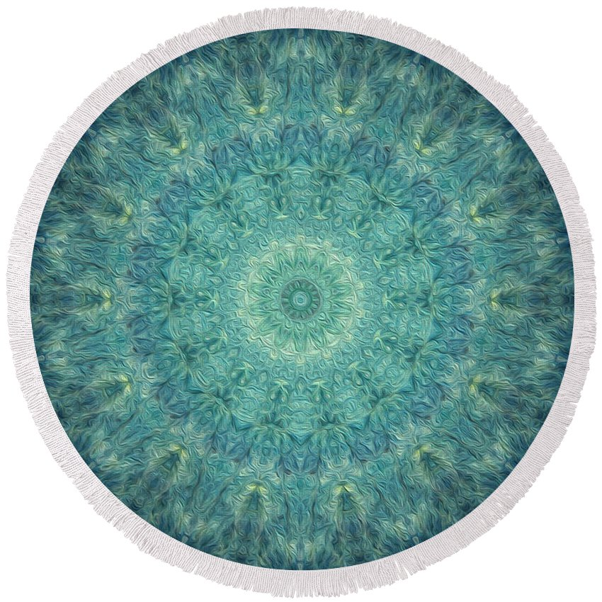 Kaleidoscope Round Beach Towel featuring the digital art Painted Kaleidoscope 5 by Rhonda Barrett