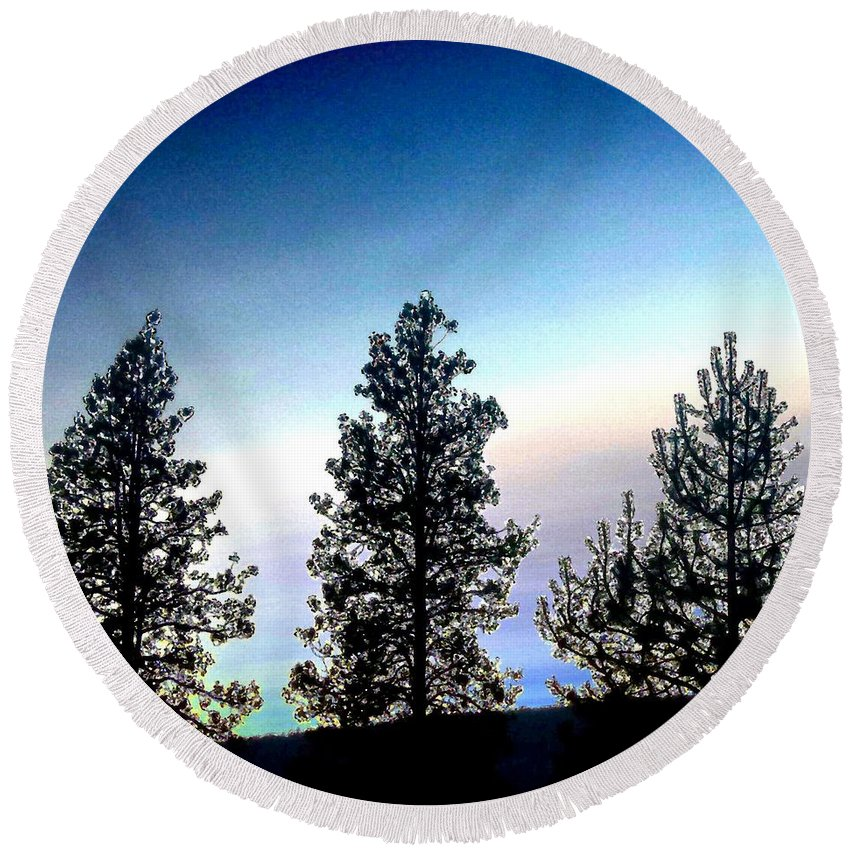 Painted Pine Tree Trio Round Beach Towel featuring the digital art Painted Pine Tree Trio by Will Borden