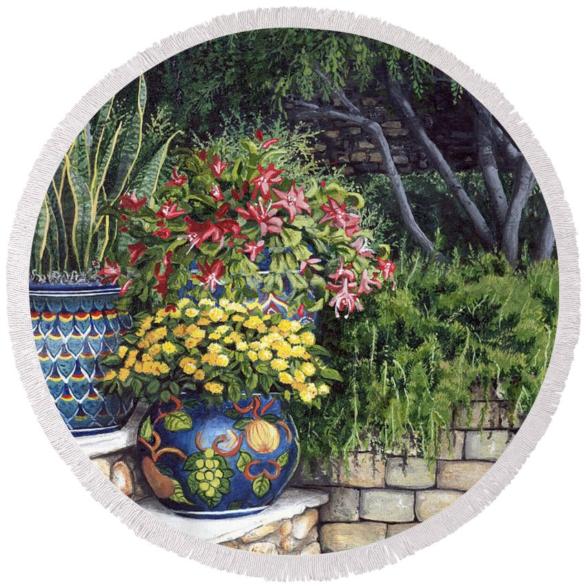 Floral Round Beach Towel featuring the painting Painted Pots by Mary Palmer