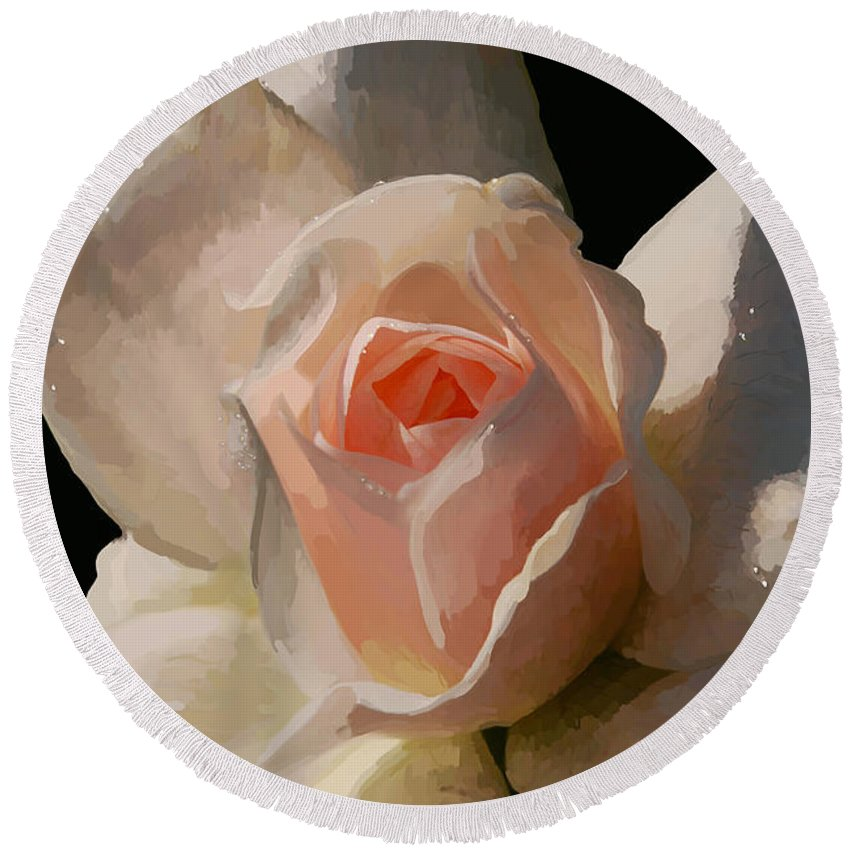 Rose Round Beach Towel featuring the digital art Painted Rose by Lois Bryan