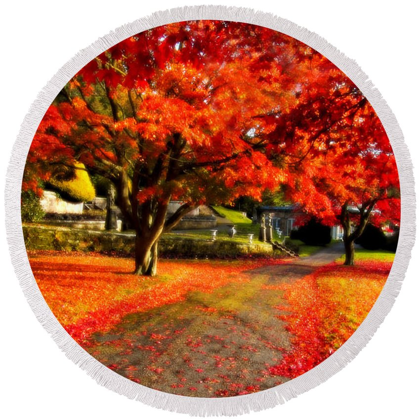 Maple Round Beach Towel featuring the photograph Painterly Autumn Path by Beverly Cash