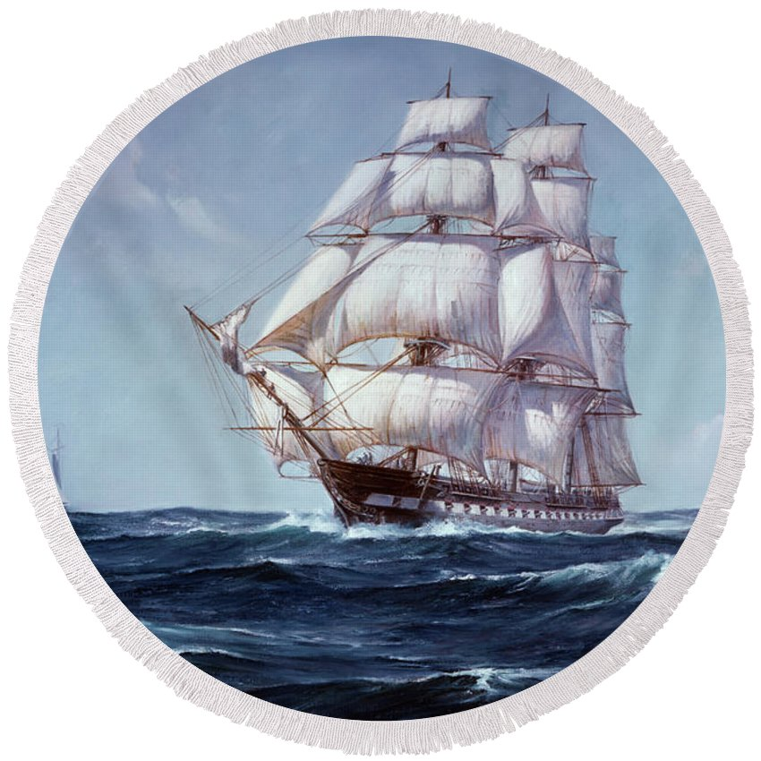 Horizontal Round Beach Towel featuring the painting Painting Of The Square Rigged Frigate by Vintage Images