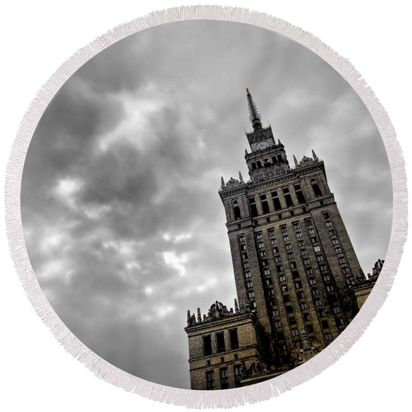 Architecture Round Beach Towel featuring the photograph Palace Of Culture And Science In Warsaw by Michal Bednarek