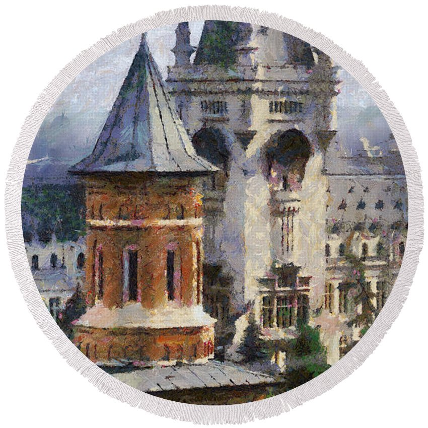 Chapel Round Beach Towel featuring the painting Palace Of Culture by Jeffrey Kolker