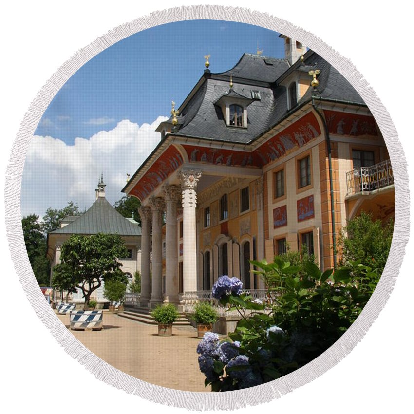 Palace Round Beach Towel featuring the photograph Palace Pillnitz - Germany by Christiane Schulze Art And Photography