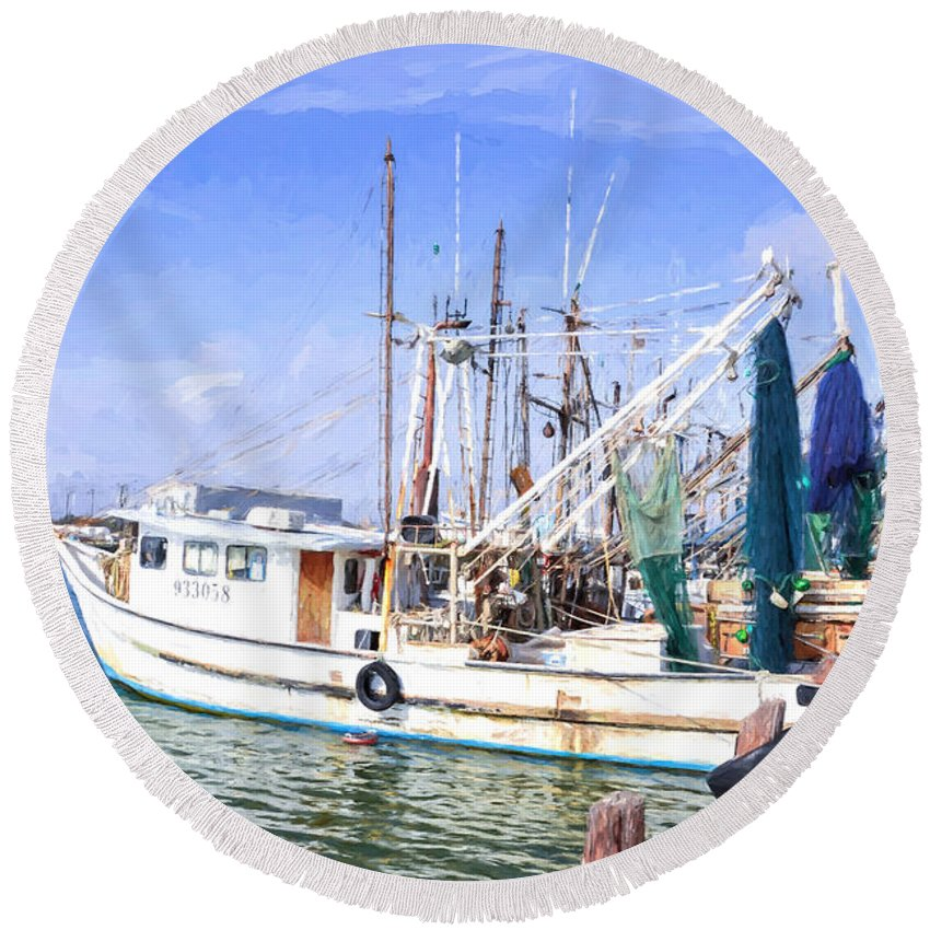 Palacios Round Beach Towel featuring the photograph Palacios Texas Shrimp Boat Lineup by JG Thompson