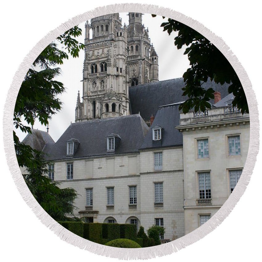 Cathedral Round Beach Towel featuring the photograph Palais In Tours With Cathedral Steeple by Christiane Schulze Art And Photography