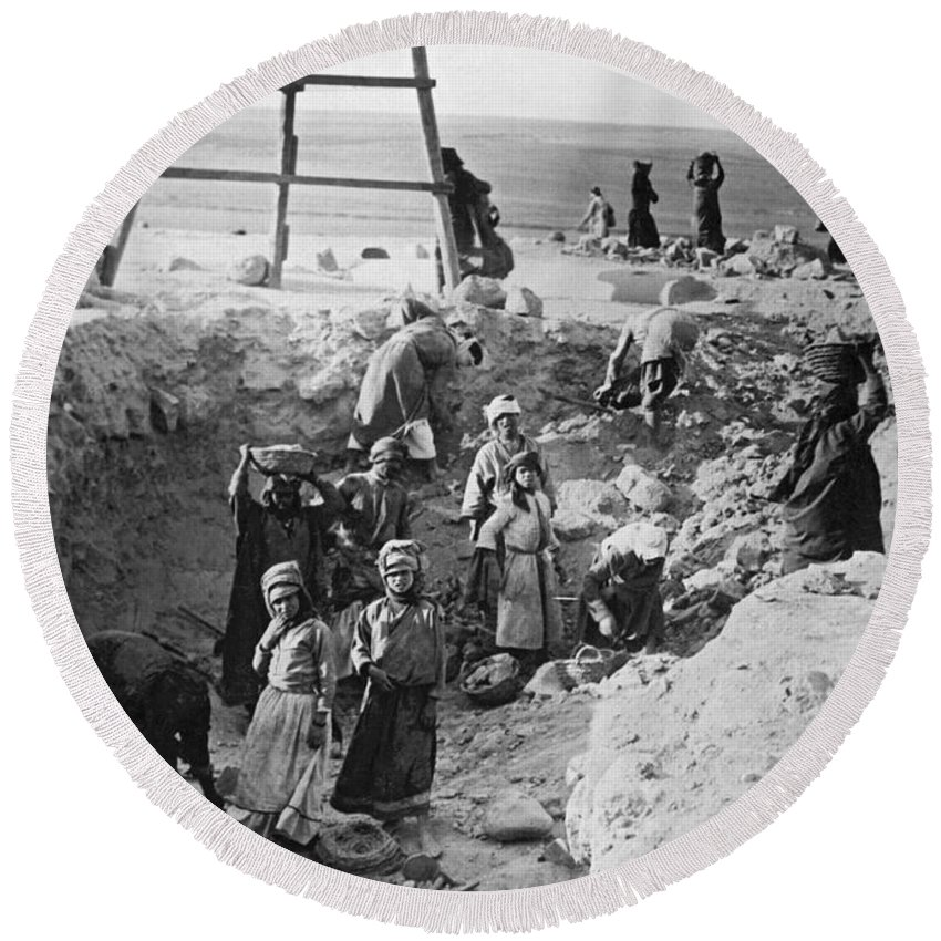 1920s Round Beach Towel featuring the photograph Palestine Archeology by Underwood Archives