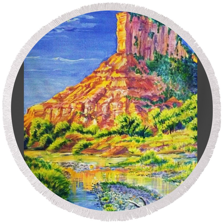 Acrylic Painting 18 By 28 In Barnwood Frame Of Iconic Sandstone Palisade Above The Dolores River In The Fall. Round Beach Towel featuring the painting Palisiade at Gateway Colorado by Annie Gibbons