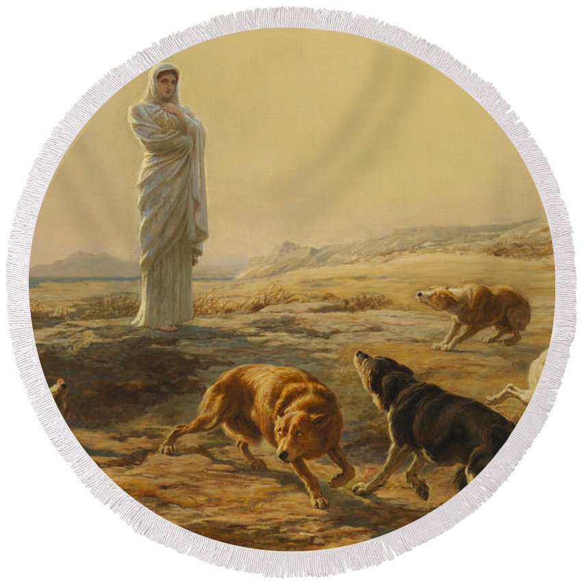 Briton Riviere Round Beach Towel featuring the painting Pallas Athena And The Herdsmans Dogs by Briton Riviere