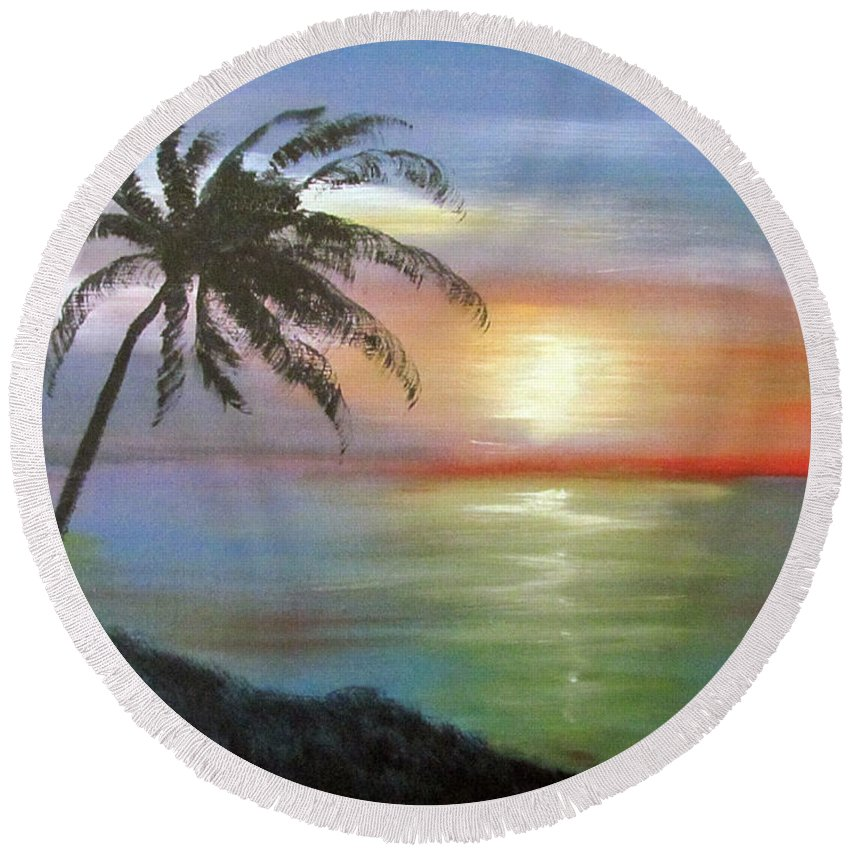 Palm Sunset Round Beach Towel featuring the painting Palm Sunset by Luis F Rodriguez