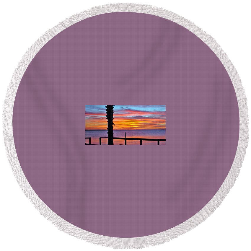 Sunset Round Beach Towel featuring the photograph Palm Sunset by Norman Johnson