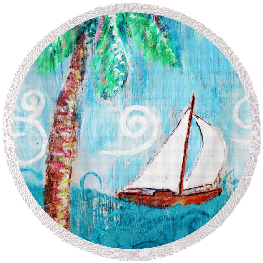 Palm Tree Round Beach Towel featuring the painting Palm Tree And Sailboat By Jan Marvin by Jan Marvin