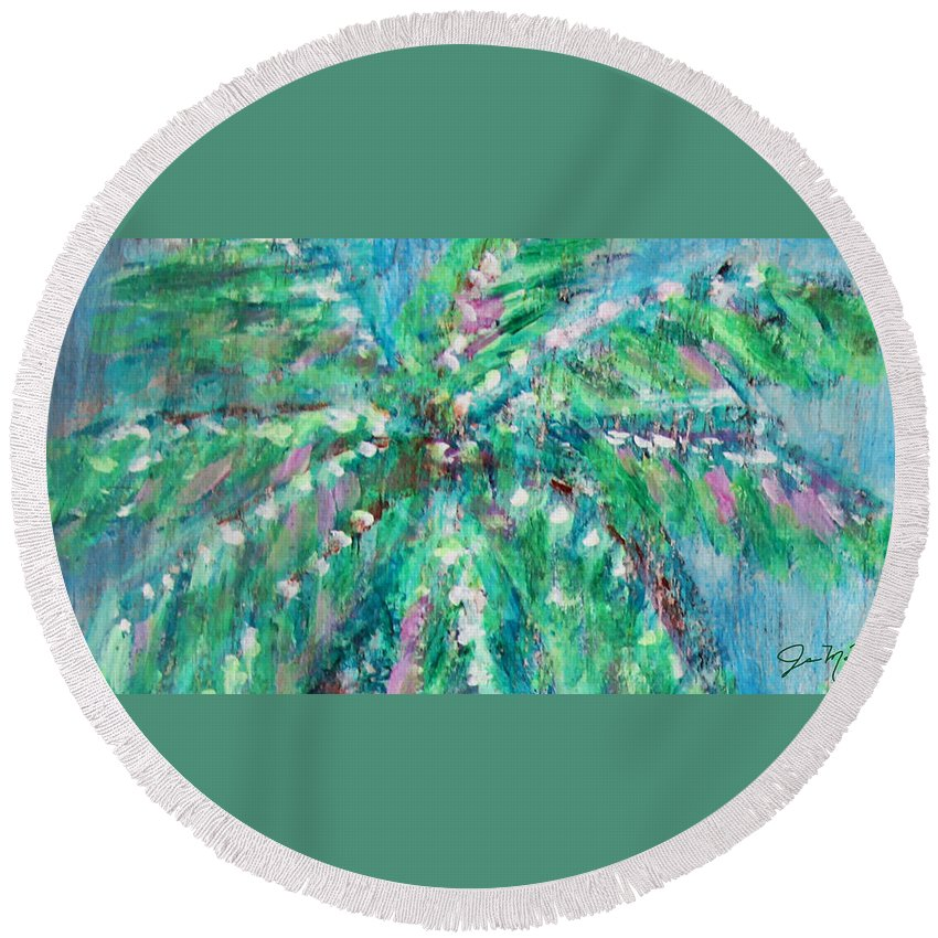 Palm Tree Round Beach Towel featuring the painting Palm Tree By Jan Marvin by Jan Marvin