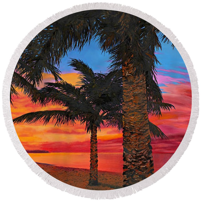 Seacape Round Beach Towel featuring the painting Palme Al Tramonto by Guido Borelli