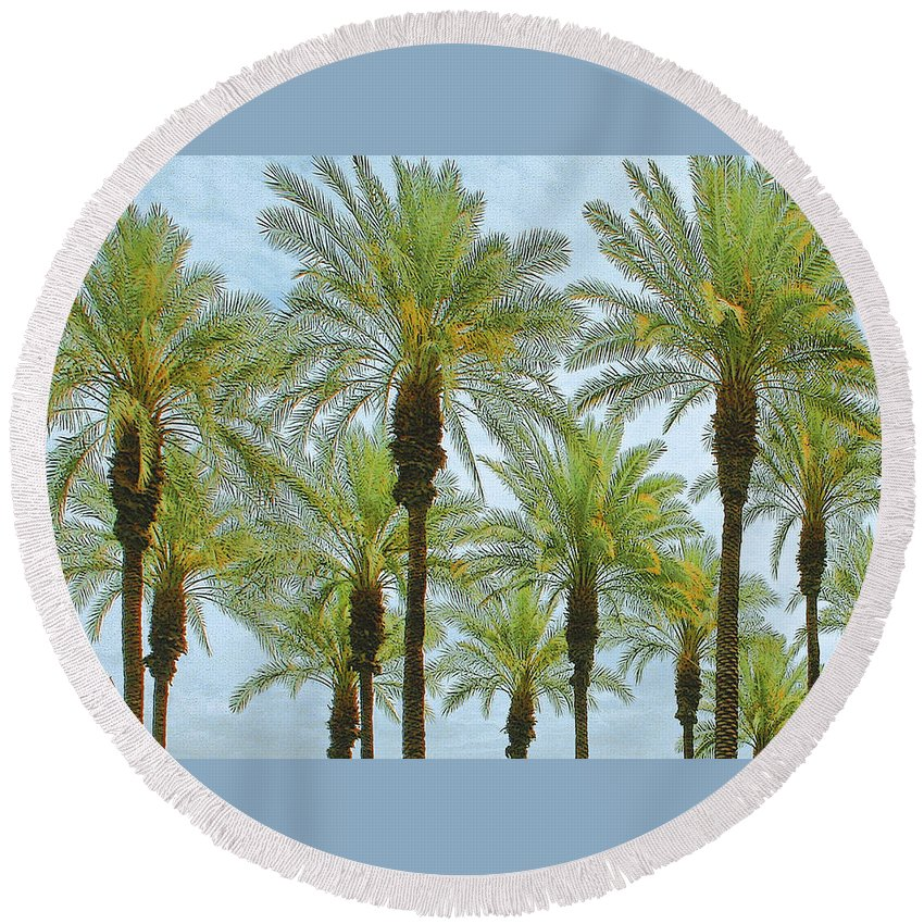 Palm Treetop Round Beach Towel featuring the photograph Palms by Ben and Raisa Gertsberg