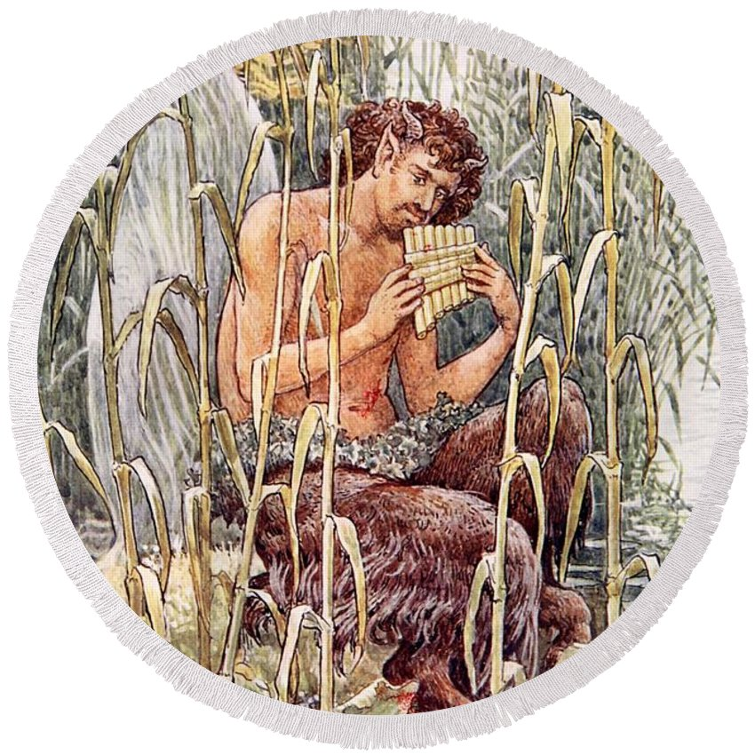 Male Round Beach Towel featuring the painting Pan Playing His Pipes by Walter Crane