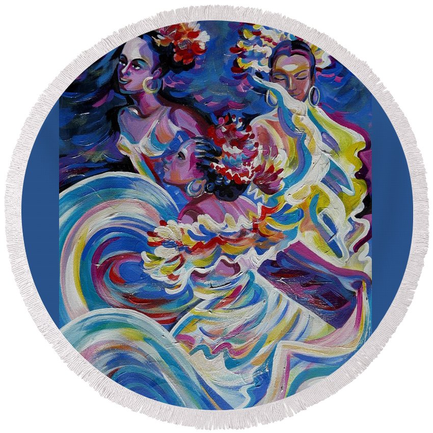 Carnival Round Beach Towel featuring the painting Panama Carnival. Folk Dancers by Anna Duyunova